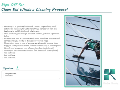 Sign Off For Clean Bid Window Cleaning Proposal Ppt Styles Vector PDF