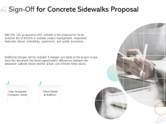 Sign Off For Concrete Sidewalks Proposal Ppt PowerPoint Presentation Professional Clipart