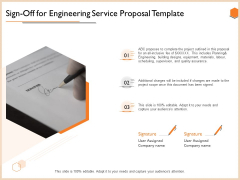 Sign Off For Engineering Service Proposal Template Information PDF