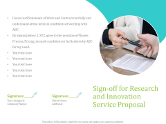 Sign Off For Research And Innovation Service Proposal Ppt PowerPoint Presentation Layouts Clipart Images PDF