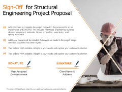Sign Off For Structural Engineering Project Proposal Ppt Portfolio Objects PDF