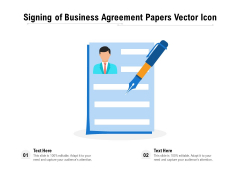 Signing Of Business Agreement Papers Vector Icon Ppt PowerPoint Presentation File Smartart PDF