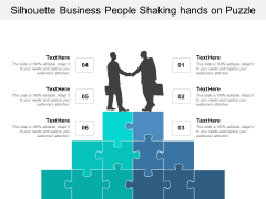 Silhouette Business People Shaking Hands On Puzzle Ppt PowerPoint Presentation Ideas Professional