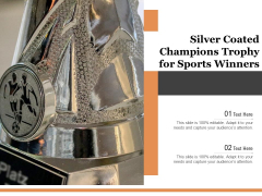 Silver Coated Champions Trophy For Sports Winners Ppt PowerPoint Presentation Model Infographics PDF