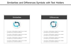Similarities And Differences Symbols With Text Holders Ppt Powerpoint Presentation Inspiration Gridlines