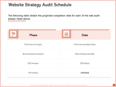 Site Analytic And Audit Proposal Website Strategy Audit Schedule Ppt File Introduction PDF