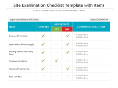Site Examination Checklist Template With Items Ppt PowerPoint Presentation Outline Visual Aids PDF