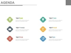 Six Agenda Topics For Discussion Powerpoint Slides