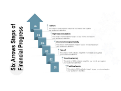 Six Arrows Steps Of Financial Progress Ppt PowerPoint Presentation Gallery Guidelines