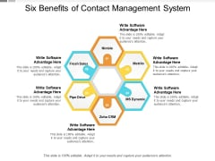 Six Benefits Of Contact Management System Ppt PowerPoint Presentation Icon Topics