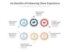 Six Benefits Of Enhancing Client Experience Ppt PowerPoint Presentation Portfolio Infographics PDF