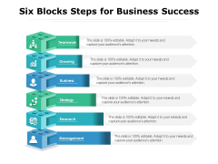 Six Blocks Steps For Business Success Ppt PowerPoint Presentation Layouts Images PDF