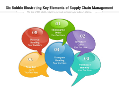 Six Bubble Illustrating Key Elements Of Supply Chain Management Ppt PowerPoint Presentation Gallery Pictures PDF