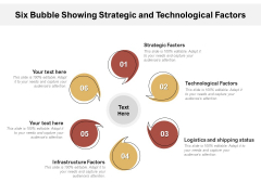 Six Bubble Showing Strategic And Technological Factors Ppt Infographic Template Example Topics PDF Ppt Ideas Tips PDF