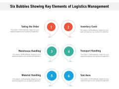 Six Bubbles Showing Key Elements Of Logistics Management Ppt Outline Themes PDF