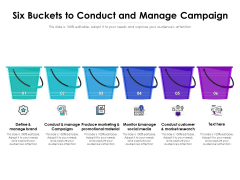 Six Buckets To Conduct And Manage Campaign Ppt PowerPoint Presentation File Diagrams PDF
