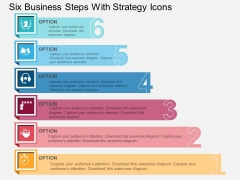 Six Business Steps With Strategy Icons Powerpoint Template