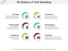 Six Buttons Of Viral Marketing Ppt PowerPoint Presentation File Visuals