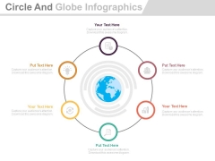 Six Circle Steps Around Globe With Icons Powerpoint Template