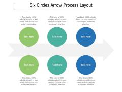 Six Circles Arrow Process Layout Ppt PowerPoint Presentation File Deck PDF