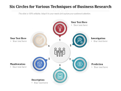Six Circles For Various Techniques Of Business Research Ppt PowerPoint Presentation File Example PDF