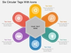 Six Circular Tags With Icons Powerpoint Template
