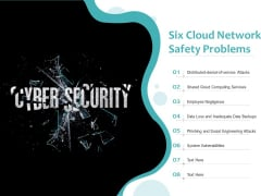 Six Cloud Network Safety Problems Ppt PowerPoint Presentation File Background PDF