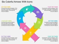 Six Colorful Arrows With Icons Powerpoint Template