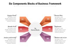Six Components Blocks Of Business Framework Ppt PowerPoint Presentation Ideas Example PDF