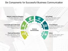 Six Components For Successful Business Communication Ppt PowerPoint Presentation Layouts Clipart Images