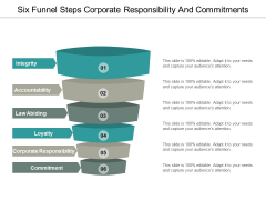 Six Funnel Steps Corporate Responsibility And Commitments Ppt Powerpoint Presentation Portfolio Format Ideas