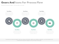 Six Gears With Icons For Process Flow Powerpoint Template