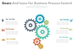 Six Gears With Strategy And Business Icons Powerpoint Template