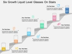 Six Growth Liquid Level Glasses On Stairs Powerpoint Template