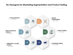 six hexagons for marketing segmentation and product testing ppt powerpoint presentation ideas guidelines pdf