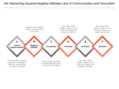 Six Intersecting Squares Negative Attitudes Lack Of Communication And Favouritism Ppt PowerPoint Presentation Infographic Template Graphics