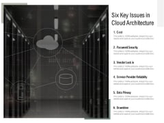 Six Key Issues In Cloud Architecture Ppt PowerPoint Presentation Icon Slide Portrait