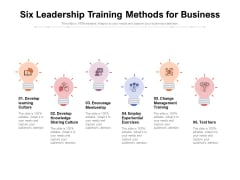 Six Leadership Training Methods For Business Ppt PowerPoint Presentation Slides Grid PDF