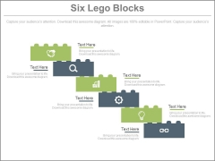Six Lego Steps With Business Icons Powerpoint Slides