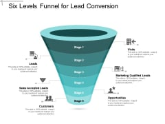 Six Levels Funnel For Lead Conversion Ppt PowerPoint Presentation Portfolio Skills