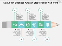 Six Linear Business Growth Steps Pencil With Icons Ppt PowerPoint Presentation Show Design Inspiration