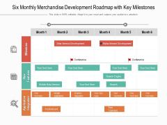 Six Monthly Merchandise Development Roadmap With Key Milestones Structure