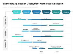 Six Months Application Deployment Planner Work Schedule Professional