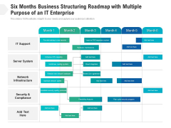 Six Months Business Structuring Roadmap With Multiple Purpose Of An It Enterprise Icons