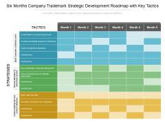 Six Months Company Trademark Strategic Development Roadmap With Key Tactics Brochure