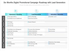 Six Months Digital Promotional Campaign Roadmap With Lead Generation Summary