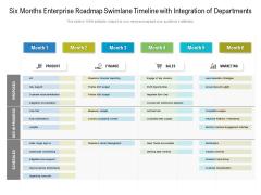 Six Months Enterprise Roadmap Swimlane Timeline With Integration Of Departments Slides
