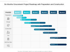 Six Months Groundwork Project Roadmap With Preparation And Construction Template