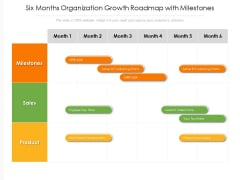 Six Months Organization Growth Roadmap With Milestones Icons