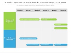 Six Months Organization Growth Strategies Roadmap With Merger And Acquisition Themes